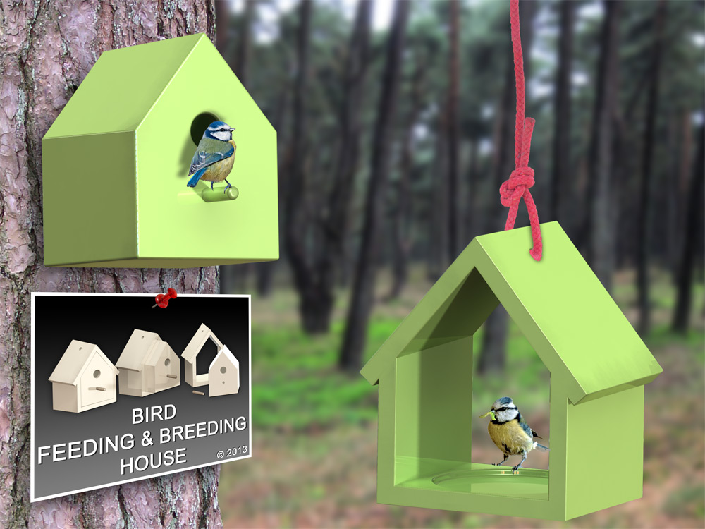 Bird feeding and breeding house